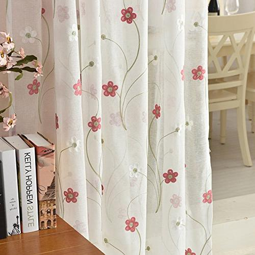 Aside Bside Sheer Fresh 5 Petals Home Decorations Voile Panels For Office and
