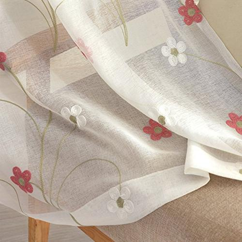 Aside Curtain Fresh Type 5 Petals Floral Embroidered Home For Room and Bedroom