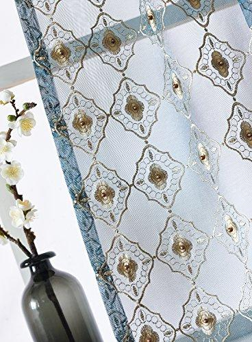 Aside Floral Bead Decor Natural Voile Drapes Living Room -1280131C1FFABUX15084-8511