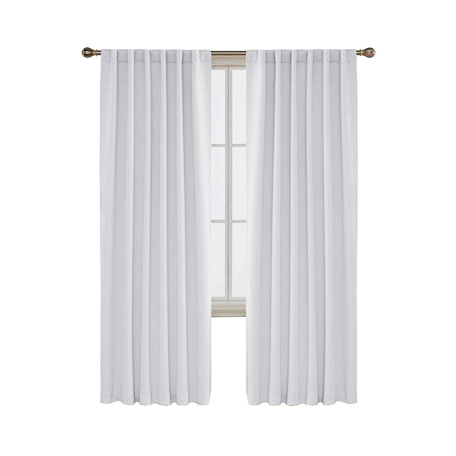 Deconovo Solid Back Curtains out 52x84 White 2 Panels