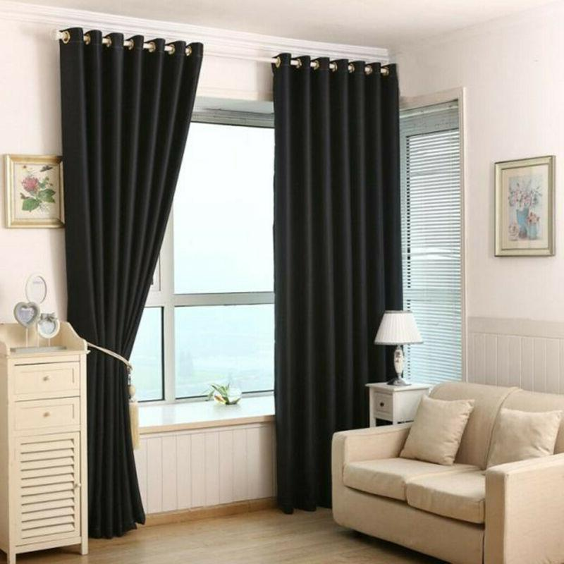 simple 2 panels blackout window curtains thermal