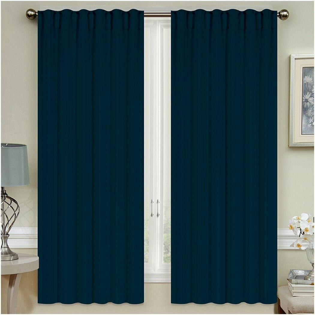 Mellanni Thermal Insulated Curtains 2-Panel Pole Top Tiebacks