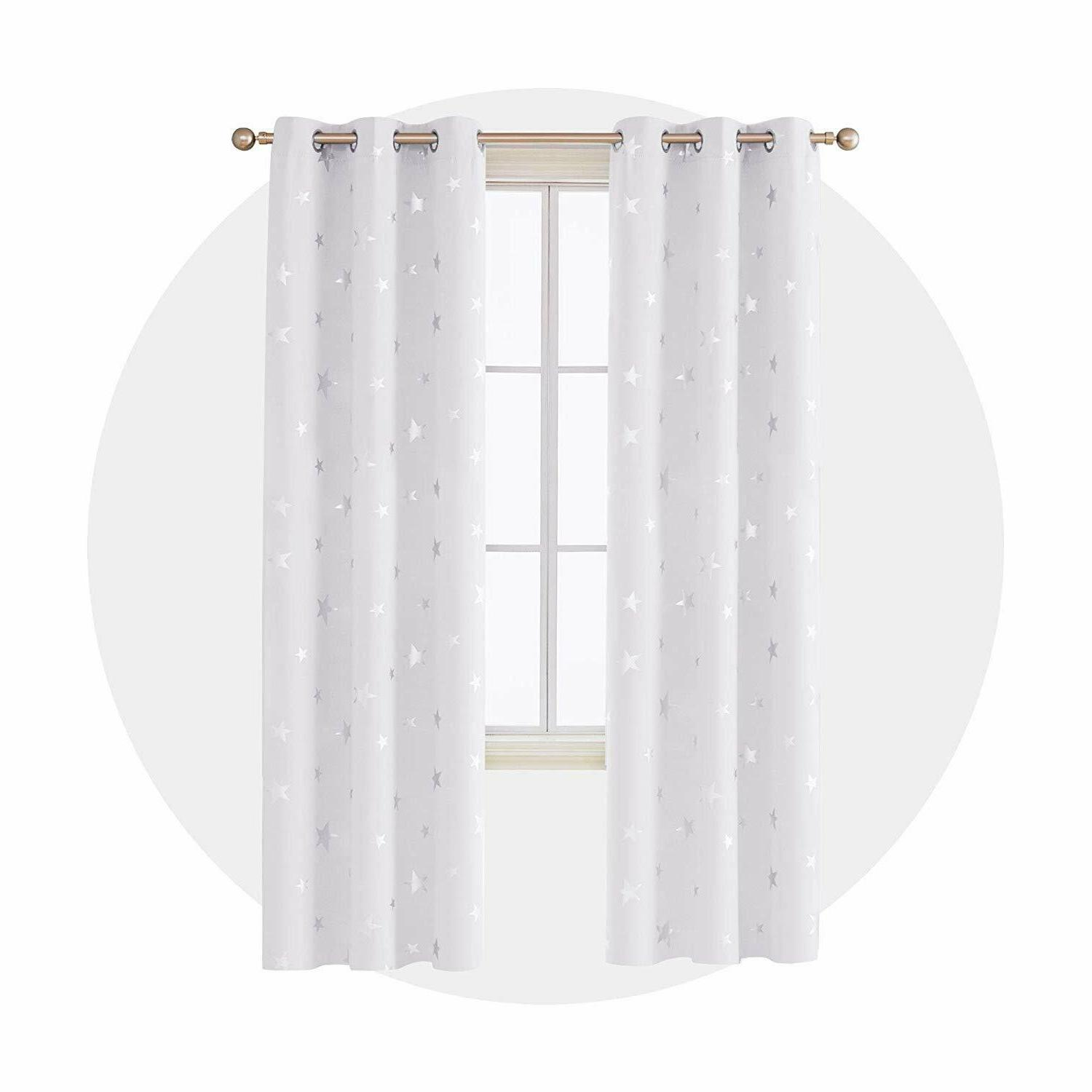 thermal insulated blackout curtains silver star grayish