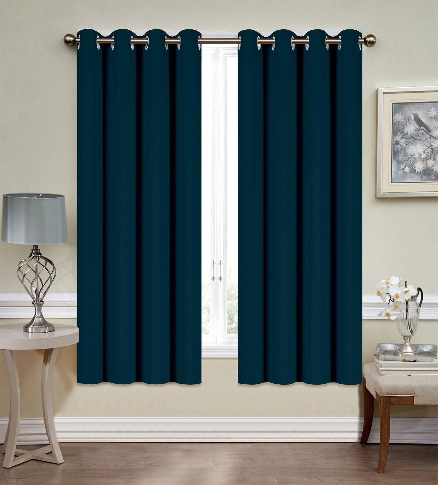 """Mellanni Blackout Curtains 52""""x63"""" Thermal Siver"""