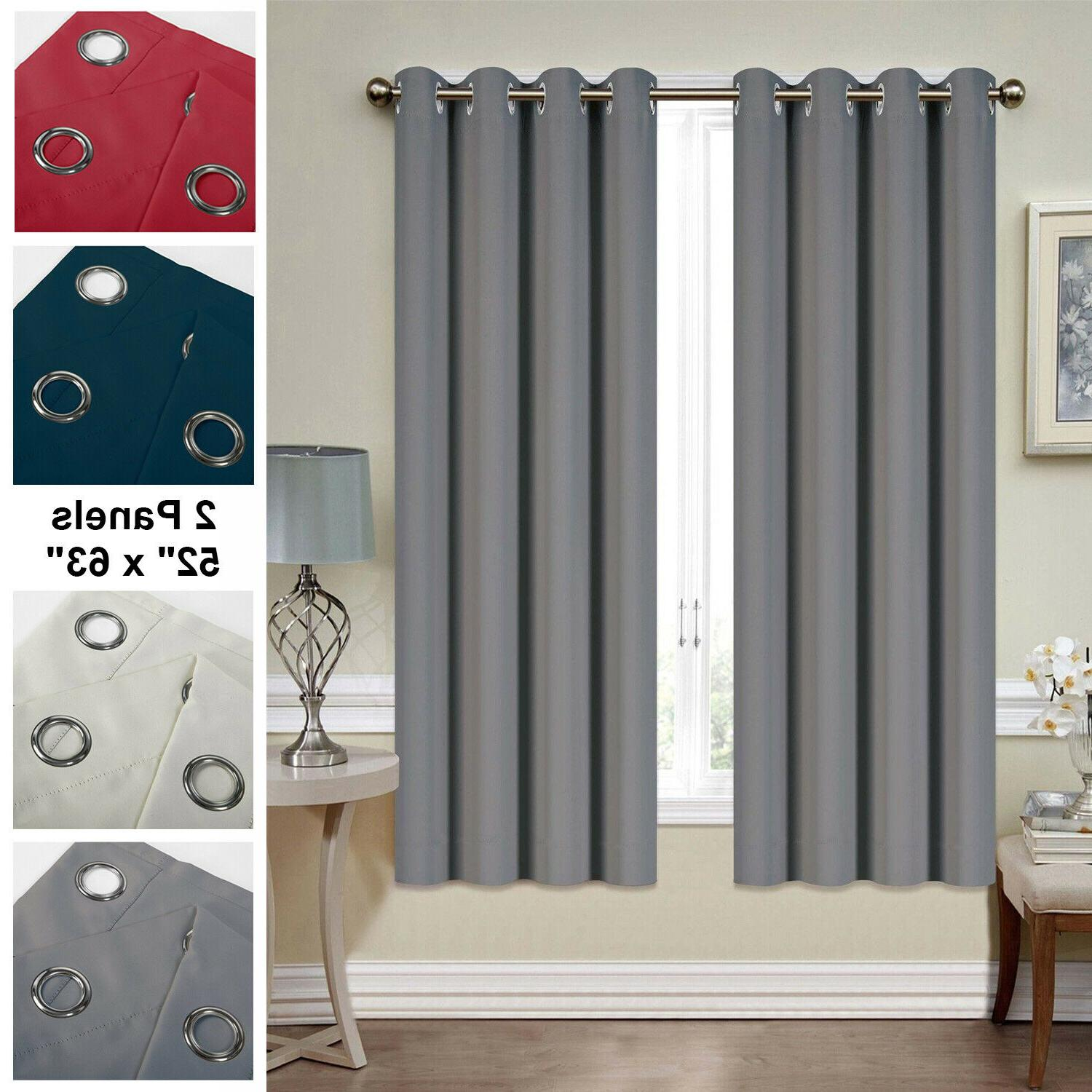 blackout curtains 2 panel 52 x63 thermal