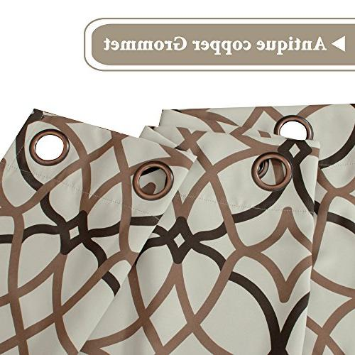 H.VERSAILTEX Thermal Insulated Blackout Grommet Curtain Living Room-52 inch by of 2 Brown Geo