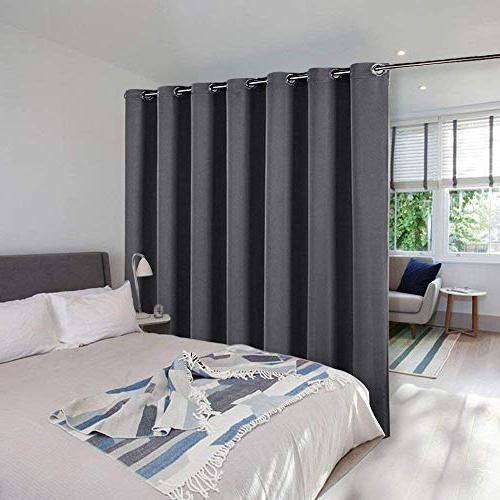 NICETOWN Door Curtain - Blackout Curtains, Keep Draperies, Grey Sliding Drapes