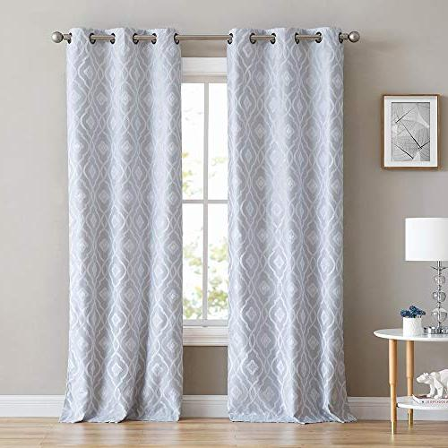 HLC.ME Trellis Flocked 100% Blackout Curtain Grommet Efficient, Reducing - Set