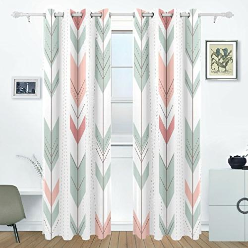 Aideess Arrows Blackout Insulated Polyester Grommet Blind Curtain Living Room,2