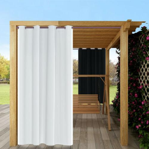 2Pcs Thermal Insulated Outdoor Curtains Grommet Patio Blacko