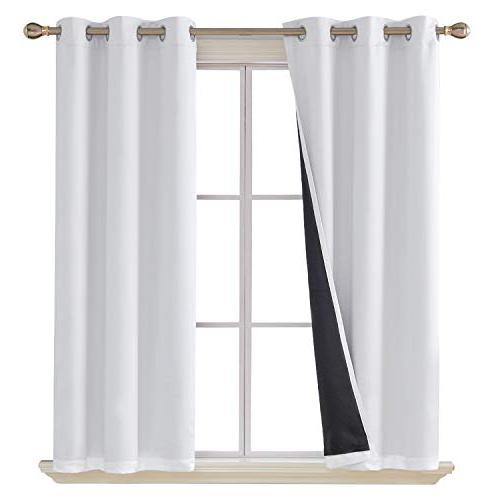 white blackout curtains double layer