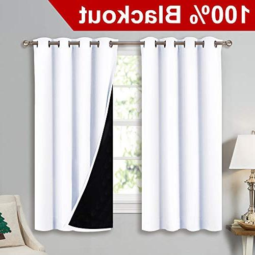 white blackout lined curtains