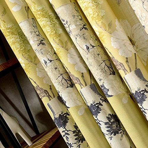 Anady Top Yellow Blackout Lined Drapes White Curtains for Bedroom Grommet Long