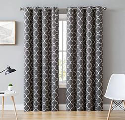 HLC.ME Lattice Print Thermal Insulated Room Darkening Blacko