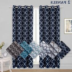 lattice printed thermal insulated blackout curtains grommet