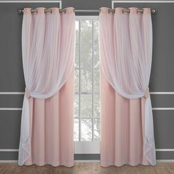Layered Drapery Style Blackout Curtains 4 Sizes Rose Thermal