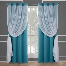 Layered Drapery Style Blackout Curtains 4 Sizes Blue Thermal
