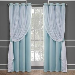 Layered Drapery Style Blackout Curtains 4 Sizes Aqua Thermal