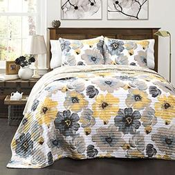 Lush Decor Leah 3 Piece Set Quilt, Full/Queen, Yellow/Gray