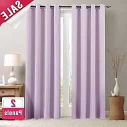 Lilac Blackout Curtains for Girls Room Darkening Thermal Ins