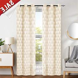 Light Filtering Window Curtains for Living Room Jacquard Cur