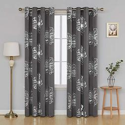 Deconovo Light Grey Flower Foil Printed Thermal Insulated Be