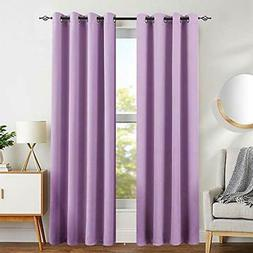 Deconovo Silver Dots Printed Blackout Curtains with Grommet Top Pink Blackout Curtains for Girls Room 42W x 63L Baby Pink 2 Panels SYNCHKG098238
