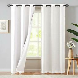 jinchan Lined Thermal Blackout White Curtains 95 inches Long