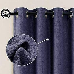 Linen Blackout Curtains 95 Inches Long Textured Drapes Room