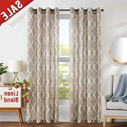 Linen Curtains for Living Room Curtain - Quatrefoil Flax Lin