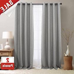 jinchan Textured Linen Curtain Panels for Bedroom Drapes for