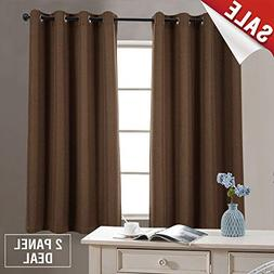 2 Panel Blackout Curtains Brown 63 inch Bedroom Linen Textur