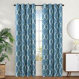 jinchan Linen Textured Curtains Moroccan Tile Design Blackou