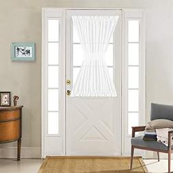Linen Textured French Door Panel Curtains Open Weave White S