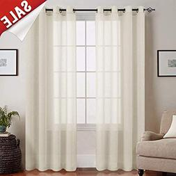 jinchan Linen Textured Sheer Curtains for Living Room Gromme