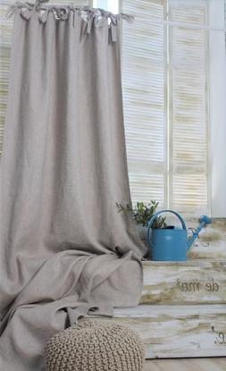 Linen Top Tie Curtain Panel with Blackout Lining - 53'' / 13