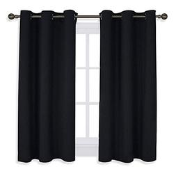 NICETOWN Living Room Blackout Curtains and Drapes, Black Sol