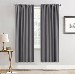 RYB HOME Living Room Blackout Curtains Gray  Window Covering