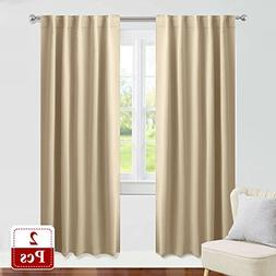 PONY DANCE Beige Curtains 84 inch - Living Room Blackout Win