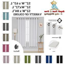Pair Blackout Window Curtain Drape Insulated Thermal Grommet