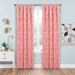 Eclipse Llama Drama Blackout Window Curtain, 42 x 63, Coral