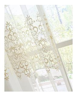 Aside Bside Lovely Elegant Style Sheer Window Curtain Floral