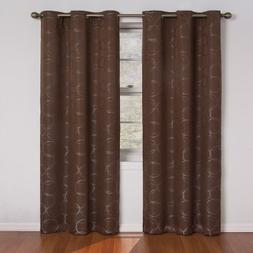 Eclipse Meridian 63-Inch Blackout Window Curtain Panel, Choc