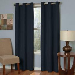 Microfiber Grommet Blackout Window Panel in Navy - Size: 95