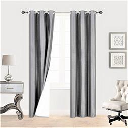"""GorgeousHome  1 SILVER GRAY 108"""" Solid Panel 100% Room Darke"""