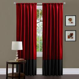 Milione Fiori Red/Black Window Curtains, Pair