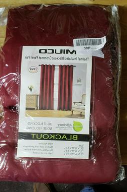 MIUCO 100% Blackout Curtains Room Darkening Drapes 52in x 63
