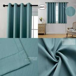 MIUCO Blackout Curtains Room Darkening Textured Grommet For
