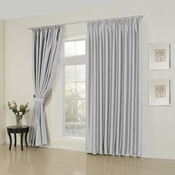 IYUEGO Modern Classic Silver Solid Room Darkening Double Ple