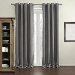 IYUEGO Modern Grey Curtain Solid Grommet Top Blackout Curtai